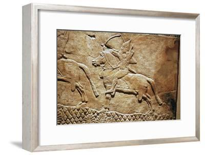Relief of an Assyrian archer on horseback. Artist: Unknown-Unknown-Framed Giclee Print