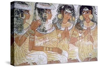 Egyptian wall-painting of musicians at a banquet. Artist: Unknown-Unknown-Stretched Canvas Print