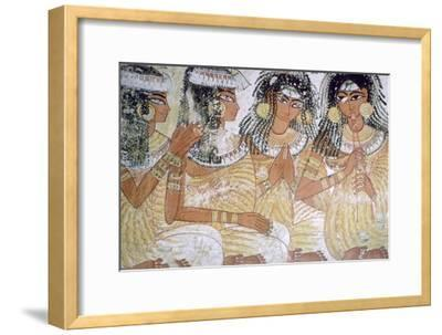 Egyptian wall-painting of musicians at a banquet. Artist: Unknown-Unknown-Framed Giclee Print