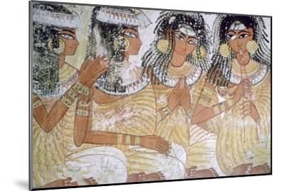 Egyptian wall-painting of musicians at a banquet. Artist: Unknown-Unknown-Mounted Giclee Print
