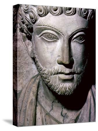 Limestone bust of Hairan, son of Marion from Palmyra, Syria, c150-200. Artist: Unknown-Unknown-Stretched Canvas Print