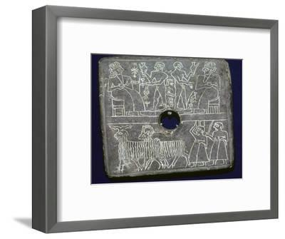 Sumerian stone plaque showing ritual offerings to a King. Artist: Unknown-Unknown-Framed Giclee Print