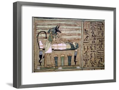 Papyrus of Anubis preparing a mummy. Artist: Unknown-Unknown-Framed Giclee Print