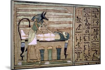 Papyrus of Anubis preparing a mummy. Artist: Unknown-Unknown-Mounted Giclee Print