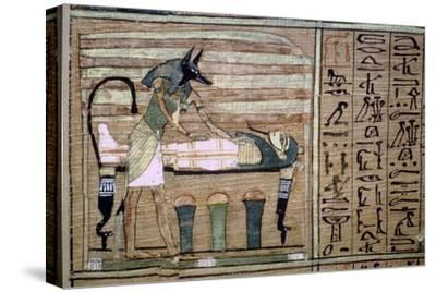 Papyrus of Anubis preparing a mummy. Artist: Unknown-Unknown-Stretched Canvas Print