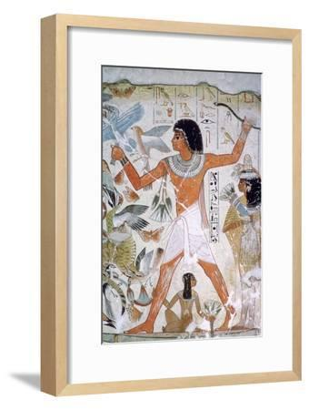 Egyptian wall-painting of fowling. Artist: Unknown-Unknown-Framed Giclee Print