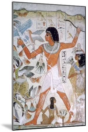 Egyptian wall-painting of fowling. Artist: Unknown-Unknown-Mounted Giclee Print