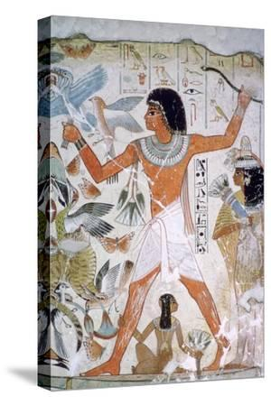 Egyptian wall-painting of fowling. Artist: Unknown-Unknown-Stretched Canvas Print