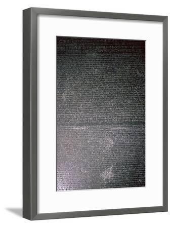 The Rosetta Stone, Egyptian, Ptolemaic Period, 196 BC. Artist: Unknown-Unknown-Framed Giclee Print