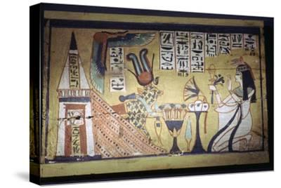 Egyptian painting on a wooden shabti box. Artist: Unknown-Unknown-Stretched Canvas Print