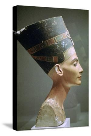 Head of Queen Nefertiti of Egypt. Artist: Unknown-Unknown-Stretched Canvas Print