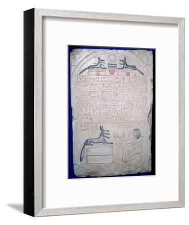 Egyptian elief stele of a man adoring Anubis. Artist: Unknown-Unknown-Framed Giclee Print
