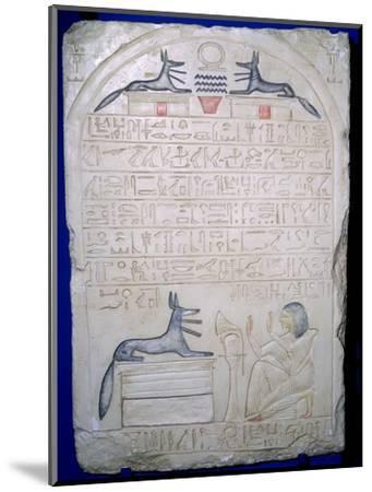 Egyptian elief stele of a man adoring Anubis. Artist: Unknown-Unknown-Mounted Giclee Print