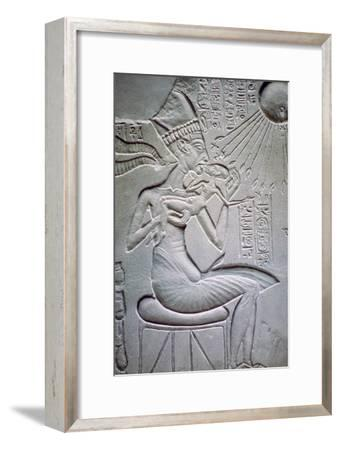 Akhenaten holding one of his daughters. Artist: Unknown-Unknown-Framed Giclee Print