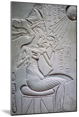 Akhenaten holding one of his daughters. Artist: Unknown-Unknown-Mounted Giclee Print