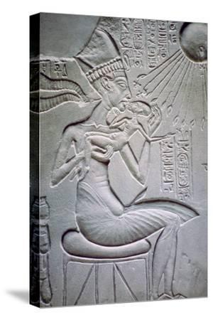 Akhenaten holding one of his daughters. Artist: Unknown-Unknown-Stretched Canvas Print
