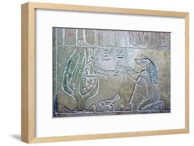 Egyptian relief showing a dead woman and Hathor. Artist: Unknown-Unknown-Framed Giclee Print