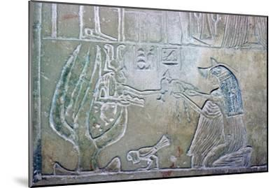 Egyptian relief showing a dead woman and Hathor. Artist: Unknown-Unknown-Mounted Giclee Print