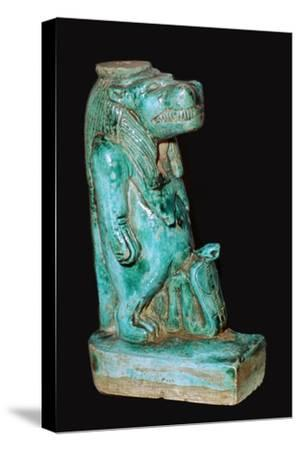 Egyptian faience statuette of the Egyptian goddess Tauret. Artist: Unknown-Unknown-Stretched Canvas Print