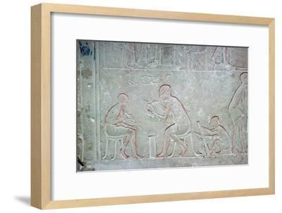 Egyptian relief showing vase painters, 14th century BC Artist: Unknown-Unknown-Framed Giclee Print