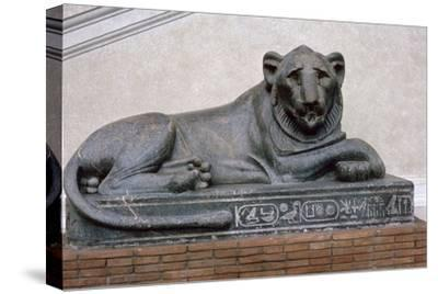 Egyptian sculpture of a lion. Artist: Unknown-Unknown-Stretched Canvas Print