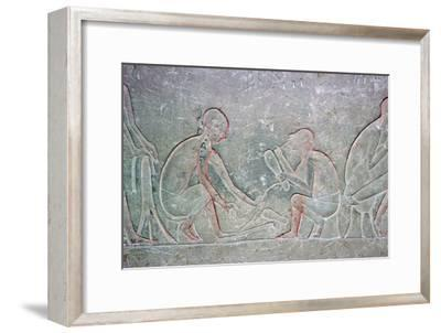 Egyptian relief showing shoemakers, 14th century BC Artist: Unknown-Unknown-Framed Giclee Print