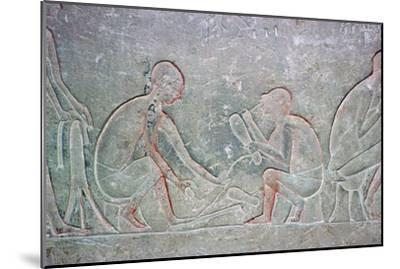 Egyptian relief showing shoemakers, 14th century BC Artist: Unknown-Unknown-Mounted Giclee Print