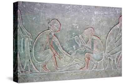 Egyptian relief showing shoemakers, 14th century BC Artist: Unknown-Unknown-Stretched Canvas Print