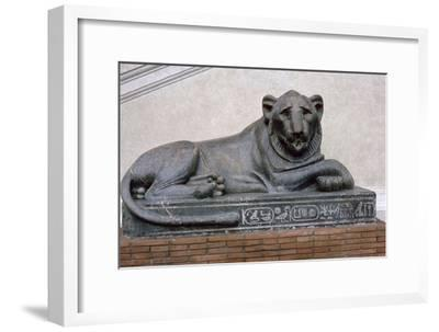Egyptian sculpture of a lion. Artist: Unknown-Unknown-Framed Giclee Print