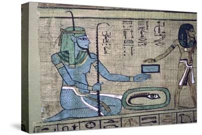 Egyptian papyrus showing the god Nun. Artist: Unknown-Unknown-Stretched Canvas Print