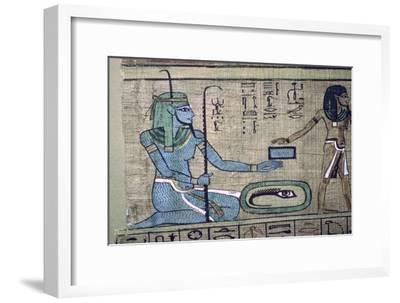 Egyptian papyrus showing the god Nun. Artist: Unknown-Unknown-Framed Giclee Print