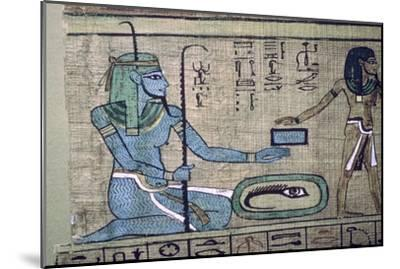 Egyptian papyrus showing the god Nun. Artist: Unknown-Unknown-Mounted Giclee Print