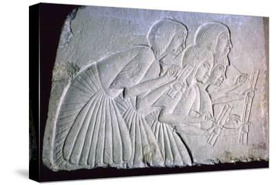 Egyptian relief of scribes. Artist: Unknown-Unknown-Stretched Canvas Print
