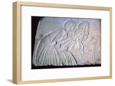 Egyptian relief of scribes. Artist: Unknown-Unknown-Framed Giclee Print
