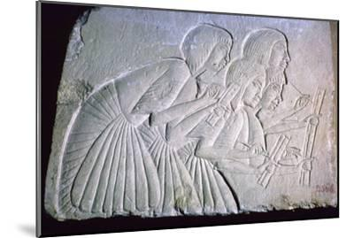 Egyptian relief of scribes. Artist: Unknown-Unknown-Mounted Giclee Print