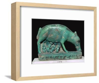 Egyptian faience statuette of a sow and piglets. Artist: Unknown-Unknown-Framed Giclee Print