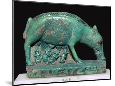 Egyptian faience statuette of a sow and piglets. Artist: Unknown-Unknown-Mounted Giclee Print