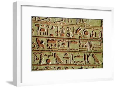 Egyptian hieroglyphs on a funerary stele. Artist: Unknown-Unknown-Framed Giclee Print
