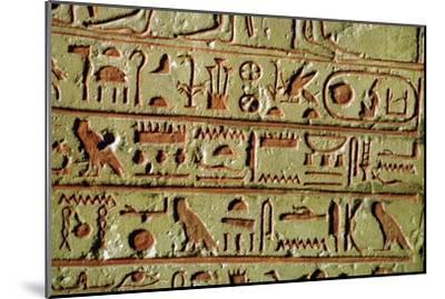 Egyptian hieroglyphs on a funerary stele. Artist: Unknown-Unknown-Mounted Giclee Print