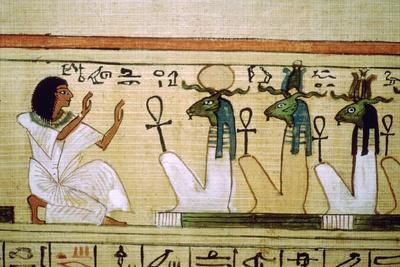 Egyptian Book of the Dead, deceased kneeling before the gods of the underworld. Artist: Unknown-Unknown-Framed Giclee Print