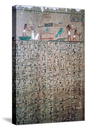Egyptian hieroglyphs from a Book of the Dead. Artist: Unknown-Unknown-Stretched Canvas Print