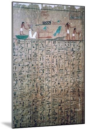 Egyptian hieroglyphs from a Book of the Dead. Artist: Unknown-Unknown-Mounted Giclee Print