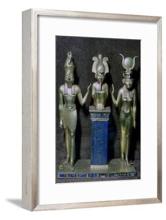 Egyptian gold statuettes of Osiris, Horus, and Isis. Artist: Unknown-Unknown-Framed Giclee Print