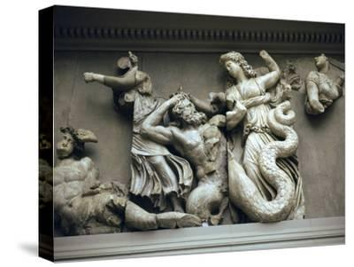 Detail of the relief from the Altar of Zeus. Artist: Unknown-Unknown-Stretched Canvas Print