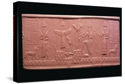 Akkadian cylinder-seal impression of the scribe Adda, 22nd century BC Artist: Unknown-Unknown-Stretched Canvas Print