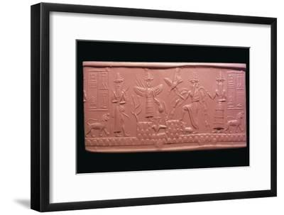 Akkadian cylinder-seal impression of the scribe Adda, 22nd century BC Artist: Unknown-Unknown-Framed Giclee Print