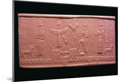 Akkadian cylinder-seal impression of the scribe Adda, 22nd century BC Artist: Unknown-Unknown-Mounted Giclee Print