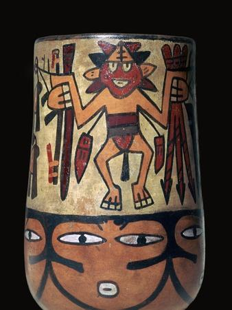 Nazca pottery vessel with two painted warriors, 2nd century. Artist: Unknown-Unknown-Framed Giclee Print
