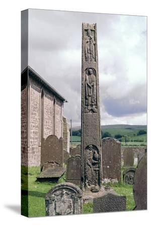Bewcastle Anglo-Saxon Cross, 7th century. Artist: Unknown-Unknown-Stretched Canvas Print