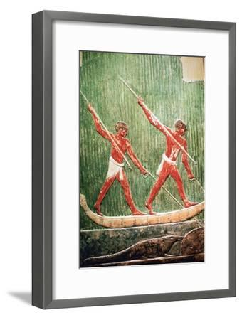 Egyptian painted relief of a hippopotamous hunt. Artist: Unknown-Unknown-Framed Giclee Print